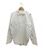 HOMME PLISSE ISSEY MIYAKE(オムプリッセイッセイミヤケ)の古着「プリーツシャツ」 ホワイト