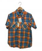 CUSHMAN(クッシュマン)の古着「半袖ワークシャツ」|オレンジ×ブルー