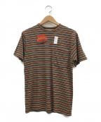 CUSHMAN(クッシュマン)の古着「ボーダー ポケットTシャツ」|ブラウン