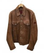 UNION JAP(ユニオンジャップ)の古着「ラムスキンライダースジャケット」|ブラウン
