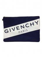 GIVENCHY(ジバンシィ)の古着「ナイロンクラッチバッグ」|ホワイト×ネイビー