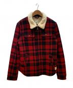 SCOTCH & SODA(スコッチアンドソーダ)の古着「裏ボアウールジャケット」|レッド×ブラック