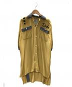 Mason MIHARA YASUHIRO(メゾンミハラヤスヒロ)の古着「スカル刺繍シャッツ」|マスタード