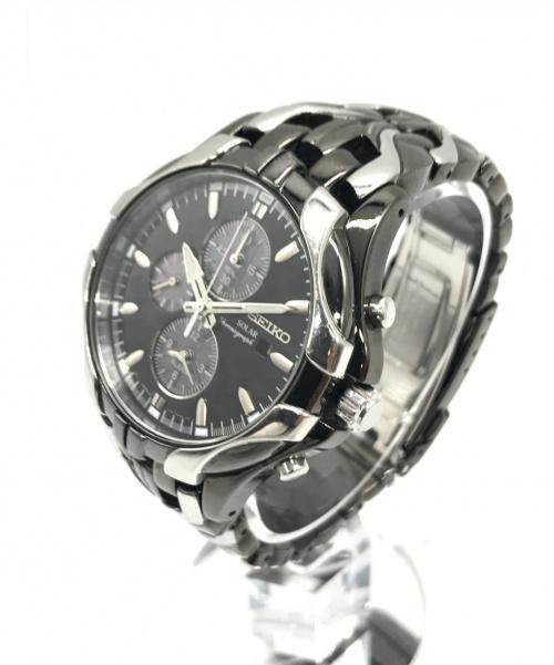 SEIKO(セイコー)SEIKO (セイコー) ソーラー腕時計 ブラック サイズ:実寸サイズをご確認ください。 クロノグラフの古着・服飾アイテム