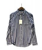 MANUAL ALPHABET(マニュアルアルファベット)の古着「ストライプシャツ」|ホワイト×ブルー