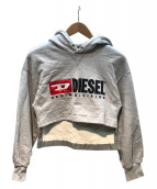 DIESEL(ディーゼル)の古着「ショート丈プルオーバーパーカー」|グレー
