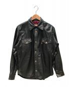 Aero LEATHER(エアロレザー)の古着「レザーシャツ」|ブラック