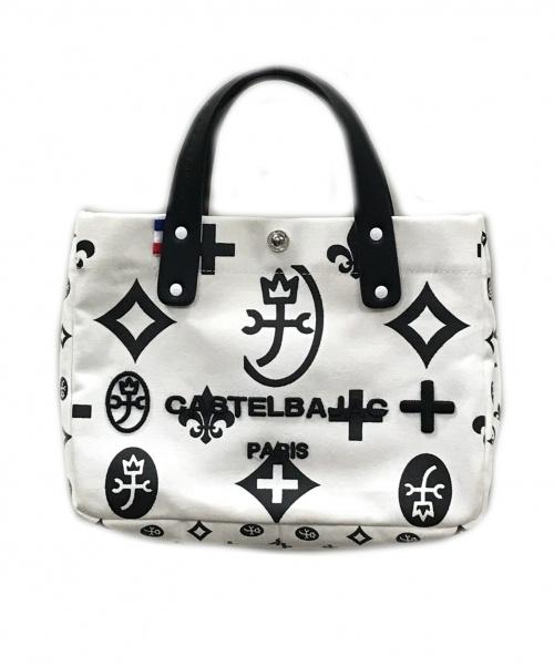 CASTELBAJAC(カステルバジャック)CASTELBAJAC (カステルバジャック) アミンⅡ スモール ホワイト×ブラック サイズ:実寸サイズをご確認下さい。 ハンドバッグ トートバッグの古着・服飾アイテム