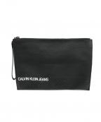 Calvin Klein Jeans(カルバンクラインジーンズ)の古着「レザークラッチバッグ」 ブラック