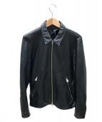 TAKEO KIKUCHI(タケオキクチ)の古着「レザーライダースジャケット」|ブラック