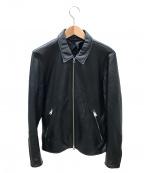 TAKEO KIKUCHI(タケオキクチ)の古着「レザーライダースジャケット」 ブラック