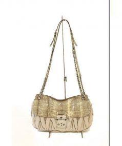 MIU MIU(ミュウミュウ)の古着「パイソン切替チェーンショルダーバッグ」|グレー