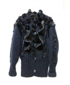 NO BRAND(ノーブランド)の古着「ニットジャケット」 ブラック