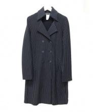 agnes b(アニエスベー)の古着「チェスターコート」|ブラック×ホワイト