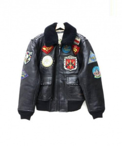 AVIREX(アヴィレックス)の古着「レザーフライトジャケット」|ブラック