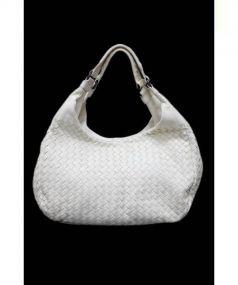 BOTTEGA VENETA(ボッテガベネタ)の古着「イントレチャートハンドバッグ」|ホワイト