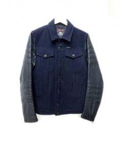 DIESEL(ディーゼル)の古着「切替レザージャケット」|ブラック
