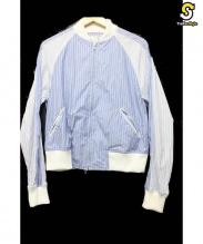 COMME des GARCONS SHIRT BOYS(コムデギャルソンシャツボーイズ)の古着「ピンストライプボンバージャケット」 ブルー