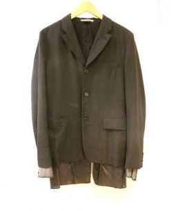 COMME des GARCONS HOMME PLUS(コムデギャルソンオムプリュス)の古着「レイヤード切替テーラードジャケット」 ブラック
