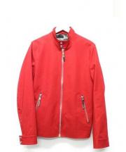 Dior Homme(ディオールオム)の古着「コットンシングルライダースジャケット」 レッド