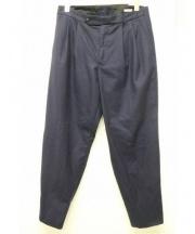 COMOLI(コモリ)の古着「フラノバックストラップパンツ」 ネイビー