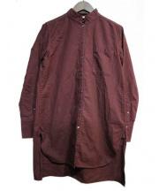 Ouur(アウアー)の古着「スタンドカラーロングシャツ」 ボルドー