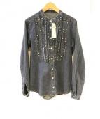 CARA O CRUZ(キャラオクルス)の古着「インディゴ染めバンドカラーシャツ」|ブルー