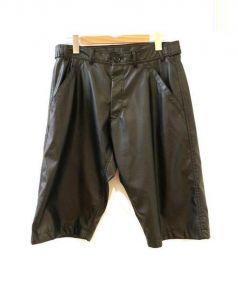 COMME des GARCONS SHIRT(コムデギャルソンシャツ)の古着「フェイクレザーハーフパンツ」|ブラック