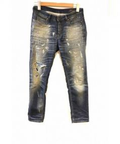 DIESEL(ディーゼル)の古着「ダメージ加工ジョグデニムパンツ」|ブルー