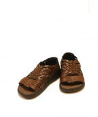 MALIBU(マリブ)の古着「レザーメッシュサンダル」|ブラウン
