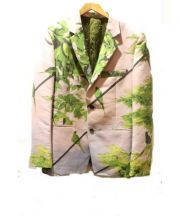 ISSEY MIYAKE MEN(イッセイ ミヤケ メン)の古着「転写テーラードジャケット」|ピンク×グリーン
