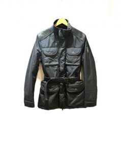 RefrigiWear(リフリッジウェア)の古着「レザー切替ナイロンジャケット」|ブラック
