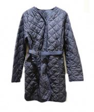 CARA O CRUZ(キャラ オ クルス)の古着「ノーカラーキルティングコート」|ネイビー