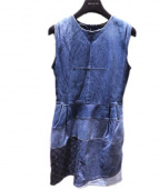 LOUIS VUITTON(ルイ・ヴィトン)の古着「デニムモノグラムノースリーブワンピース」 ブルー