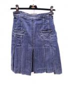 CHANEL(シャネル)の古着「ロゴボタンデニムスカート」|インディゴ