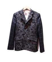 COMME des GARCONS HommePlus(コムデギャルソンオムプリュス)の古着「キルティングフラワー素材切替ジャケット」|ブラック
