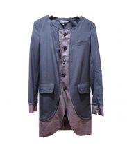 COMME des GARCONS HommePlus(コムデギャルソン オムプリュス)の古着「チェックレイヤード シングルコート」|ブラック