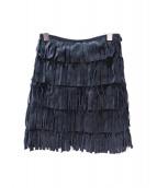 BURBERRY LONDON(バーバリーロンドン)の古着「フリンジレザースカート」|ブラック