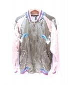 FRAPBOIS(フラボア)の古着「ドルフィン刺繍スカジャン」|ベージュ×カーキ