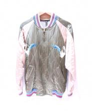 FRAPBOIS(フラボア)の古着「ドルフィン刺繍スカジャン」 ベージュ×カーキ