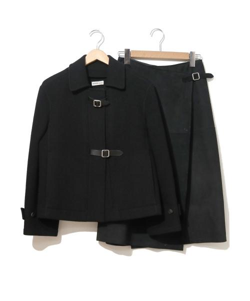 HERMES(エルメス)HERMES (エルメス) セットアップショートコート ブラック サイズ:コート:34表記 スカート:36表記 マルジェラ期・90'sの古着・服飾アイテム