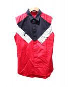Dior Homme(ディオールオム)の古着「ノースリーブセットアップシャツ」|レッド×ブラック