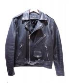 HORN WORKS(ホーンワークス)の古着「レザーダブルライダースジャケット」|ブラック