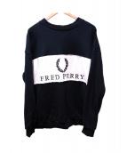 FRED PERRY(フレッドペリー)の古着「ロゴスウェット」|ブラック×ホワイト