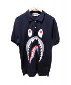 A BATHING APE(ア ベイシング エイプ)の古着「シャークプリントポロシャツ」|ブラック
