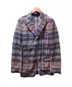 DRIES VAN NOTEN(ドリスヴァンノッテン)の古着「切替配色テーラードジャケット」|グリーン