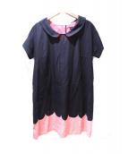 marimekko(マリメッコ)の古着「襟付きワンピース」|ピンク×ブラック