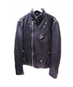 black by VANQUISH(ブラック バイ バンキッシュ)の古着「ベジタブルシープレザーダブルライダースジャケット」|ブラック