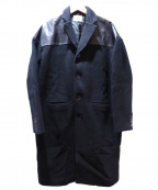 myne(マイン)の古着「レザー切替チェスターコート」|ブラック