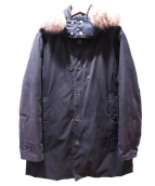 MONCLER(モンクレール)の古着「フーデットファーダウンコート」|ブラック